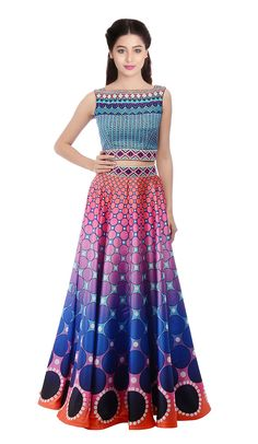 Smashing Shaded Blue and Pink Lehenga Choli Work:-Printed Fabric:-Silk Paired with the matching blouse piece. Pink Lehenga, Lehenga Online, Choli Designs, Ghagra Choli, Designer Wear, Indian Outfits, Clothes For Women, Dresses, Android