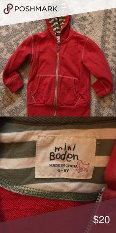 Mini Boden Boys striped hoodie VGUC. Very versatile great layering sweatshirt. Marked as size 4-5 Mini Boden Shirts & Tops Sweatshirts & Hoodies
