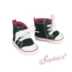 """Black High Top Canvas Tennis SHOES w/ Pink Trim fits American Doll & 18"""" Girl (eBay seller tinylittleones)"""