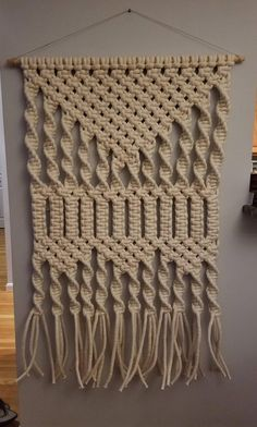 Extra Large Macrame Tapestry features cotton piping hand knotted on a 36 wooden rod. Macrame Plant Hanger Patterns, Macrame Wall Hanging Patterns, Large Macrame Wall Hanging, Macrame Patterns, Quilt Patterns, Macrame Design, Macrame Art, Macrame Projects, Passementerie