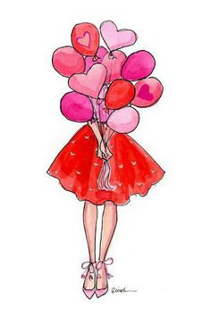 Items similar to Art Print Fashion Illustration: Be Mine with Balloons on Etsy - Valentines Day Valentine Drawing, Cartoon Cupcakes, Winter Thema, Illustrator, Illustration Mode, Illustration Fashion, Art Illustrations, Jolie Photo, Birthday Balloons