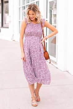 flutter sleeve floral dress, purple dress, lilac dress, smocked dress, maternity dress, midi dress