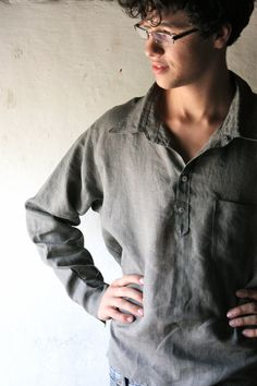 Men's Shirt Linen shirt Classic shirt Long sleeve by larimeloom, Periwinkle Dress, Sharp Dressed Man, Milan Fashion Weeks, Mens Glasses, Handmade Clothes, My Wardrobe, Custom Shirts, Custom Made, Men Dress