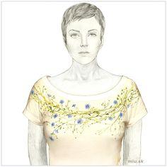 Maľované tričko s kvetmi modrého ľanu – Linum – miu. T Shirt, Art, Supreme T Shirt, Art Background, Tee Shirt, Kunst, Performing Arts, Tee, Art Education Resources