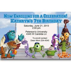 Monsters University Birthday Party Invitations Digital File