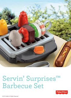 """Fire up the grill! The Servin' Surprises™ Barbecue Set includes a grill with """"glowing"""" charcoal, """"magic"""" hot dog with bun, mustard  ketchup bottles, tongs, kabob skewer, meat, shrimp, green  red peppers and a mushroom  onion slice! #Outdoor #Playtime #Pretend"""