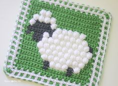 Repeat Crafter Me: Crochet Bobble Stitch Sheep Square free pattern