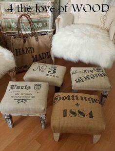 4 Easy Steps For Developing A Sunroom 4 The Love Of Wood: Building A Grain Sack Foot Stool Furniture Projects, Furniture Making, Furniture Makeover, Painted Furniture, Diy Furniture, Bathroom Furniture, Cowhide Furniture, Rustic Furniture, Vintage Furniture