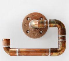 4 Piece Bathroom Accessories Set Made with Copper Pipe. Bathroom Sets, Bathrooms, Bathroom Accessories, Door Handles, Copper, Make It Yourself, Unique Jewelry, Handmade Gifts, Towel