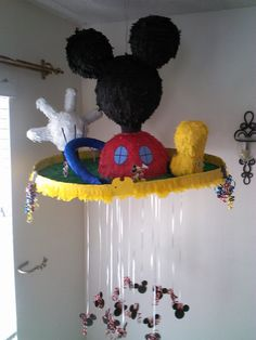 Mickey Mouse clubhouse pull-string pinata by SmashingFunCreations on Etsy, $65.00