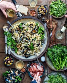 Dennis The Prescott ( Creamy Seafood Pasta, Antipasto, Cooking Recipes, Healthy Recipes, Food Platters, Food Cravings, Food Presentation, Love Food, Food Inspiration