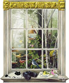 Bird Watching Window Mural, wall murals and photo murals in all sizes. Plus tips on mural installation. Window Mural, Window View, Attic Window, Window Panels, Window Coverings, Window Treatments, Wall Stickers Murals, Wall Murals, Wall Art