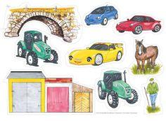 """Sagan påminner lite om den klassiska sagan om """"De tre Bockarna Bruse"""", men handlar istället om tre bilar och en traktor. Mycketuppskattad saga som barnen gärna vill höraom och om igen. Tips! Övaprepositionerna över, under, före, efter,etc. med bilarna och traktorn. Matematik: liten, stor och mittemellan. Ett, två tre… Låt fantasin flöda! © Text Per-Olof Wikström, bilderna är illustrerade av ... Read More Pre School, Singing, Education, Prints, Kids, School Ideas, Inspiration, Grammar, Tractor"""