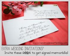 A list of celebrities to invite to your wedding.  Most will send you back a congratulatory letter or signed picture.  Great for your wedding scrapbook!