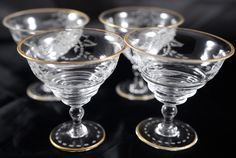 Antique Etched Crystal French Sherberts Set of 4