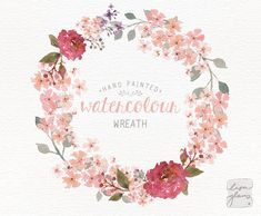 Watercolor wreath: hand painted floral wreath von LisaGlanzGraphics