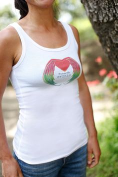 PROTECTED BY ANGELS White scoop neck tank by sarahndipityClothing, $28.00