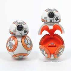 Star Wars BB8 droid custom engagement ring box #wedding #proposal #ringbox #love #geekery #starwars #bb8 Starwars Bb8, Star Wars Ring, Ring Boxes, Ever And Ever, Proposal, Engagement Ring, Rings, Wedding, Accessories