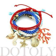 Starfish Seahorse Seashell Charm Bracelet 5 Piece Set