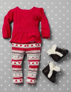 Girls' fashion | Kids' clothes | Cable-knit top | Fair Isle print leggings | Boots | The Children's Place