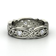 Brilliant Alhambra Band, Platinum Ring with Diamond from Gemvara