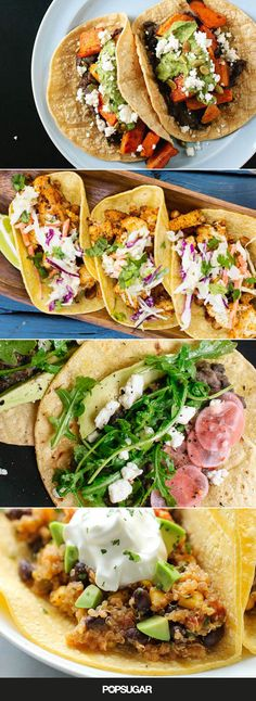 """The first things that come to mind when you think """"tacos"""" might be carnitas and ground beef, but there are so many ways to spice up vegetables to make a fantastic vegetarian taco. From grilling your veggies to making roasted tomatillo salsa, getting creative with your produce can lead to seriously delicious tacos that any vegetarian or meat eater would love. Get ready for Cinco de Mayo (or any taco-worthy night) with these 12 vegetarian recipes."""