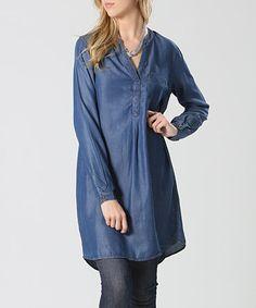 Medium Blue Denim Notch Neck Tunic #zulily #zulilyfinds
