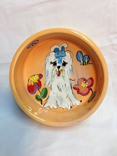 Maltese 8 Ceramic Dog Bowl for Food or Water Personalized at no Charge Signed by Artist Debby Carman * To view further for this article, visit the image link. #DogBowls