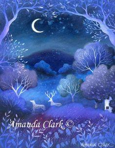 Art Sale!  An unframed original painting by Amanda Clark from earthangelsarts on etsy.  £75.00. Titled 'Dusk'.
