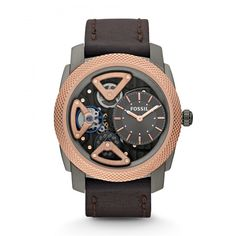 Shop for Fossil Men's 'Mechanical Twist' Leather Strap Watch. Get free delivery On EVERYTHING* Overstock - Your Online Watches Store! Fossil Leather Watch, Brown Leather Watch, Grey Leather, Fossil Watches For Men, Cool Watches, Men's Watches, Dress Watches, Luxury Watches, Skeleton Watches