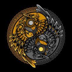 Yin yang owl doodle ornament illustration and tshirt design premium vector Owl Doodle, Doodle Art, Owl Wallpaper, Crazy Wallpaper, Owl Artwork, Owl Logo, Samurai Art, Abstract Logo, Celtic Art