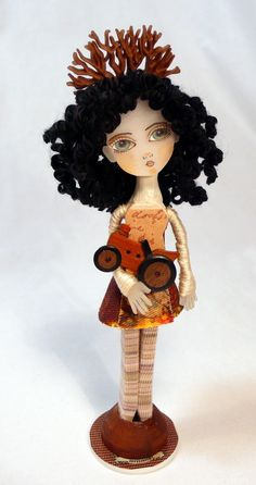 Clothespin Doll Art - Polly wants a Tractor Handmade Clothes Pin Art Doll ~ by Jessica Hamilton on Etsy $34.