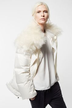 Goose Down with Fake Fur Collar and Cady Silk Georgette Light blouse Cult Of Personality, Fake Fur, Fur Collars, Fashion Brand, Fall Winter, Winter Jackets, Silk, Blouse, Women