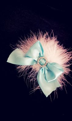 So Tiffany Blue Bow and Feather headband and clip  by BabyFetch, $15.00