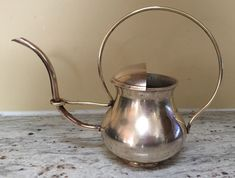 Vintage Solid Brass Teapot or Olive Oil Dispenser Can w handle #unknown