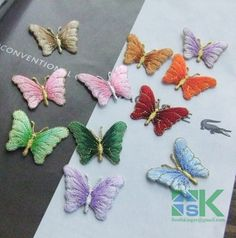 2016 New Arrival 10 Piece/ lot Multicolor lace patch diy lace butterfly embroidery lace fabric applique stickers clothes decorat Cheap Stickers, Stickers Online, Diy Patches, Butterfly Embroidery, Clothing Patches, Lace Fabric, Applique, Stuff To Buy, Clothes