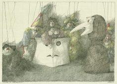 Paul Flora Cool Drawings, Austria, Whimsical, Flora, Paintings, Illustrations, Humor, Dibujo, Art