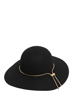 LANVIN - RABBIT FUR FELT HAT WITH CHAIN - LUISAVIAROMA - LUXURY SHOPPING WORLDWIDE SHIPPING - FLORENCE