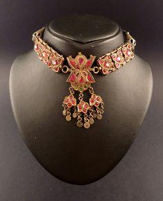 Gargantilla antigua de Cachemira, gargantilla de la India,  joyería india antigua, collar de la india, joyería de Cachemira, tribal y étnico