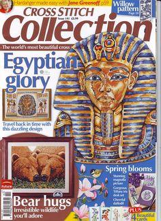 Cross Stitch Collertion 141 2007 Egyptian Glory; birds, bears, flowers, King Tut, iris