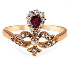 17 carat rose gold ring. Edwardian era, ruby and diamond