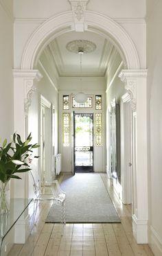 entrance halls in 2019 victorian hallway, Style At Home, Edwardian Haus, Queenslander House, Victorian Hallway, Home Modern, Entry Hallway, White Hallway, White Walls, Bright Hallway