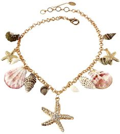 """Amrita Singh Women's Bali Beach Necklace  Gold-tone brass station necklace with shell details and Austrian crystal accents * Lobster clasp closure *Measurements:* 20"""" long with the option to be worn as short as 18"""" long"""