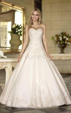 Übergröße Herz-Ausschnitt Ballkleid bodenlanges aufgeblähtes Brautkleider mit Korsett