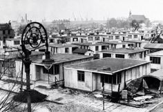 Prefabs around Galbraith Street on the Isle of Dogs, built quickly to create further housing following bombings, 1946