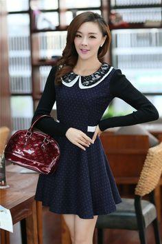 Blue Doll Collar Lace Splice Long Sleeve Dress