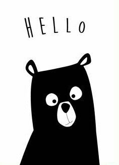 Bear Nursery Print Hello Bear Art Black and White Modern Bear Nursery, Nursery Art, Bar Kunst, Baby Posters, Kids Room Art, Bear Art, Modern Kids, Art Mural, Minimalist Poster