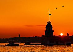 Love this Sunset silhouette of the Maiden Tower (Kiz Kulesi)