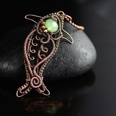Wire wrapped fish pendant copper wire jewelry onyx by OrioleStudio