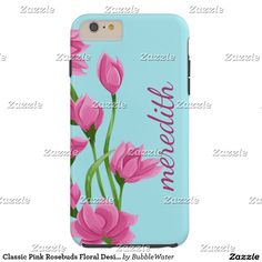 Classic Pink Rosebuds Floral Design Tough iPhone 6 Plus Case